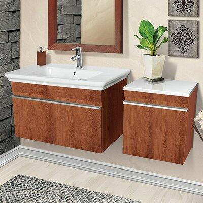 Decolav Wall Mounted Single Bathroom Vanity Set Base Medium Walnut