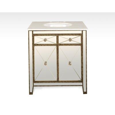 Everly Quinn Calacatta Marble Single Bathroom Vanity Set