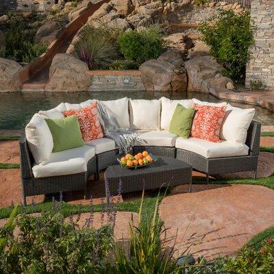 Mercury Row Profile Rattan Sectional Set Cushions Low Conversation Sets