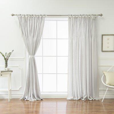 Dungannon Belgian Flax Linen Tie Top Pinch Pleat Solid Semi-Sheer Tab Top Single Curtain Panel D5D2599A729447C883B8EF3AA7CB348B