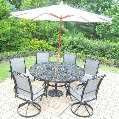 August Grove Dining Set Black Umbrella White