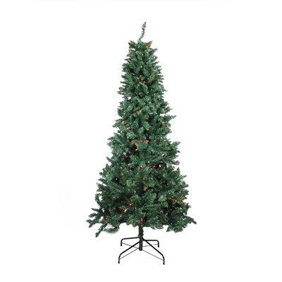 9 Slim Pine Artificial Christmas Tree With Multi Color Lights