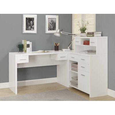 Latitude Run Shaped Writing Desk Hutch L Desks