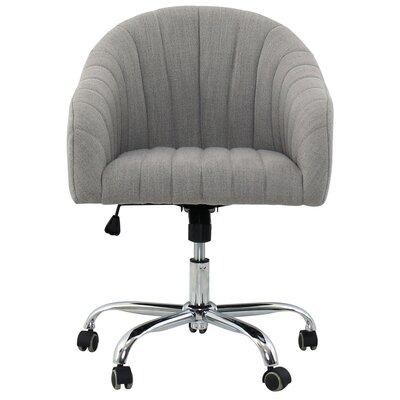 Wade Logan Swivel Back Desk Chairvelvet Gray Linen Office Chairs