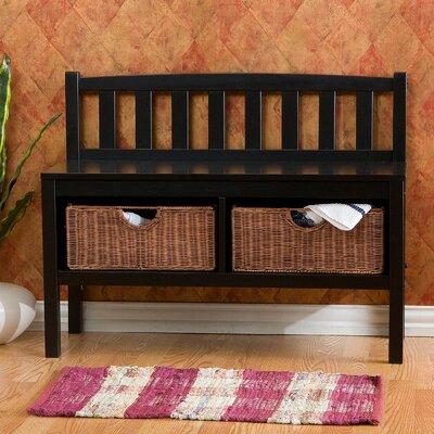 Beachcrest Home Storage Bench Rattan Baskets Wood Benches
