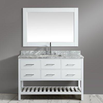Dcor Design Cambridge Single Bathroom Vanity Set Mirror Base White