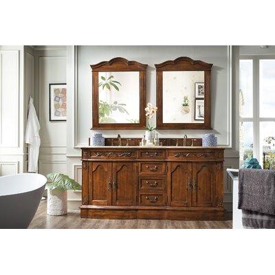 Fleur De Lis Living Hills Double Cherry Travertine Top Bathroom Vanity Set