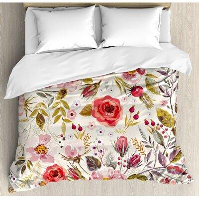 East Urban Home Watercolor Flowers Roses Blooms Romantic Artwork Duvet Cover Set Draw Bedsding