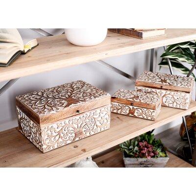 Bungalow Rose Tree Natural Decorative Box Set Lid Carved Furniture