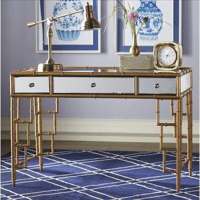 Everly Quinn Mirror Top Desk Bamboo Frame Writing Desk