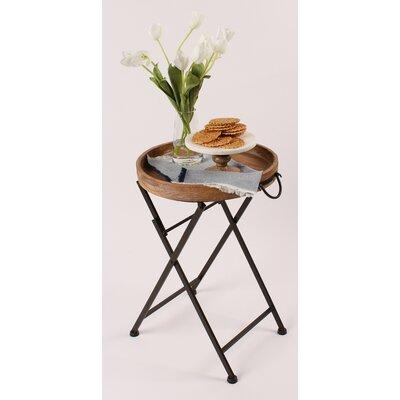 Kate Laurel Wood Tray Table Metal Tv Trays