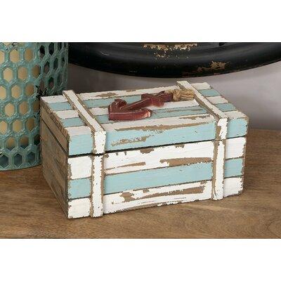 2 Piece Wood Box Nautical Maritime Decor Set