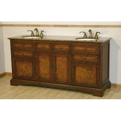 Fleur De Lis Living Double Bathroom Vanity Set Top Baltic Brown Granite Stone