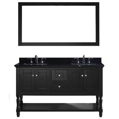 Gracie Oaks Double Bathroom Vanity Set Mirror Faucet Polished Chrome