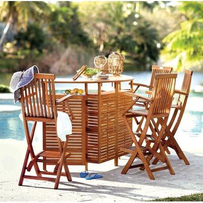Beachcrest Home Patio Folding Bar Table Outdoor Bar Sets