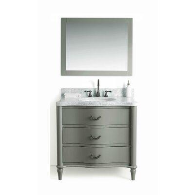August Grove Solid Wood Single Bathroom Vanity Set Mirror Base Gray