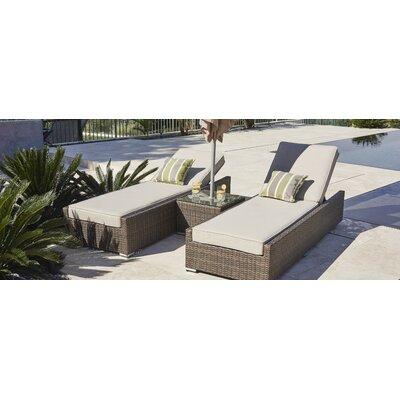 Orren Ellis Reclining Chaise Lounge Set Cushions Table Loungers