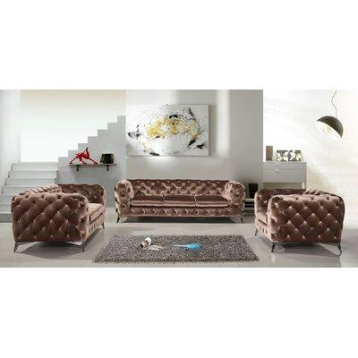 Everly Quinn Living Room Set Brown
