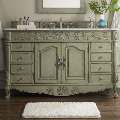 Astoria Grand Single Bathroom Vanity Set Base Celadon Top White
