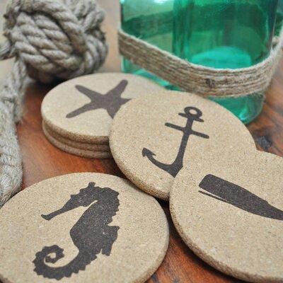 Nautical Beach 6 Piece Cork Coaster Set in Gift Box | 50 Nautical Inspired Ideas For Home Decor | Inexpensive Nautical Decor | DIY Home Decor | theMRSingLink