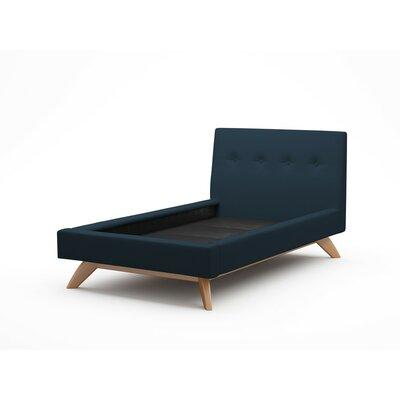 Truemodern Upholstered Platform Bed Leg Walnut Twin Body Fabric Ivory