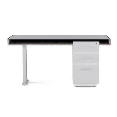 Bdi Glass Writing Desk Platinum Satin White Finishes Gray Glass