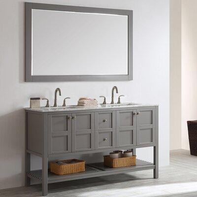 Beachcrest Home Double Bathroom Vanity Set Mirror Base Grey