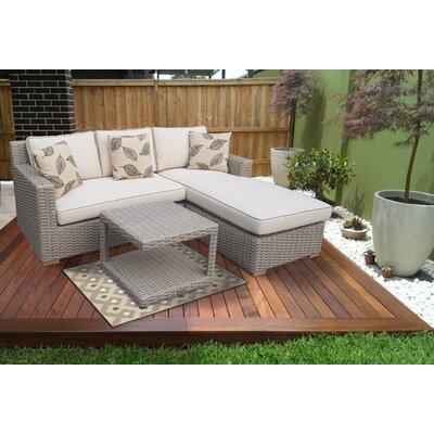 Gracie Oaks Rattan Sectional Set Cushion Patio Conversation Sets