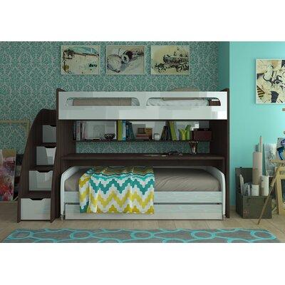 Brayden Studio Twin Futon Bunk Bed Trundle Semi Gloss White Dark Wood