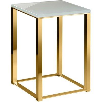 Orren Ellis Backless Vanity Stool Frame Polished Gold Seat White
