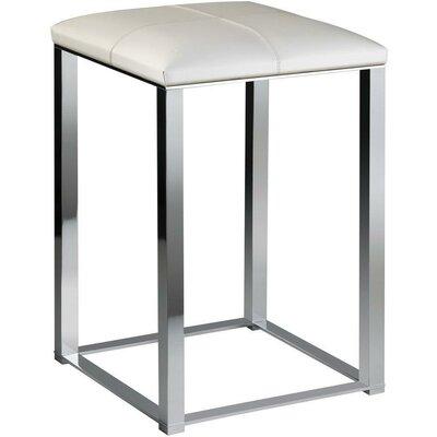 Orren Ellis Backless Vanity Stool Frame Polished Chrome Seat White