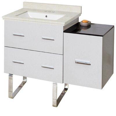 Orren Ellis Single Bathroom Vanity Set Sink Biscuit Base White