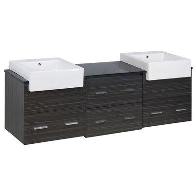 Orren Ellis Double Bathroom Vanity Set Faucet Single Base White Dawn Gray