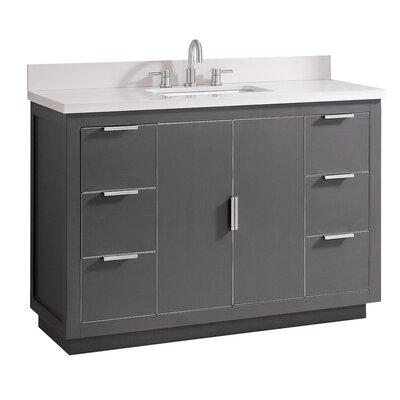 Everly Quinn Single Bathroom Vanity Set White Quartz Silver
