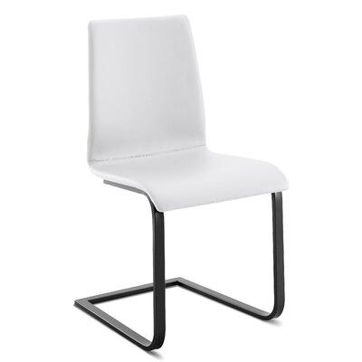 Domitalia Upholstered Dining Chair Leg Black Upholstery White