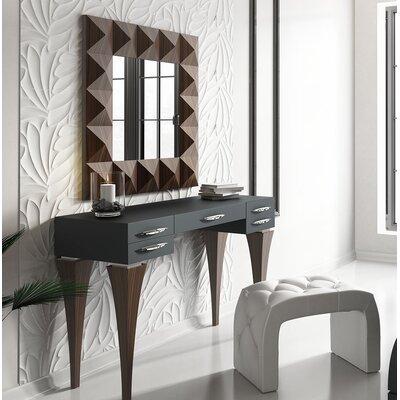 Brayden Studio Bedroom Makeup Vanity Set Mirror Black Brown