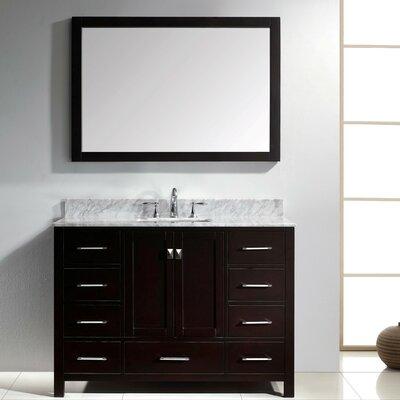 Willa Arlo Interiors Bathroom Vanity Set Carrara White Mirror Single Vanities