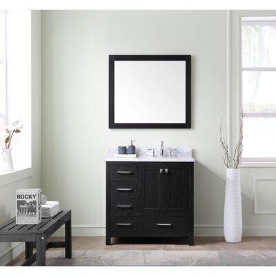 Willa Arlo Interiors Bathroom Vanity Set White Marble Top Mirror Single Vanities