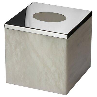 Latitude Run Alabaster Square Case Tissue Box Cover Polished Chrome