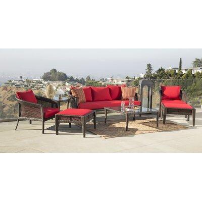 August Grove Outdoor Wicker Rattan Conversation Set Cushions
