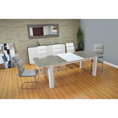 Orren Ellis Extendable Glass Dining Table White Gray