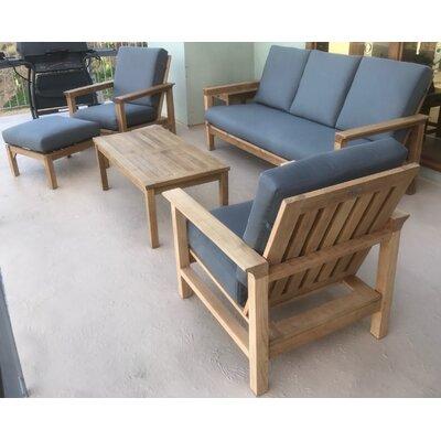 Bungalow Rose Harptree Teak Sofa Set Cushions