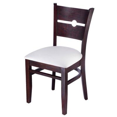 Benkel Seating Side Chair Faux Leather Cream White Dark Mahogany