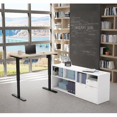 Brayden Studio Reversible Standing Desk Converter Northern Maple White