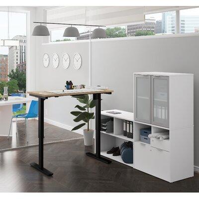 Brayden Studio Standing Desk Converter Northern Maple White