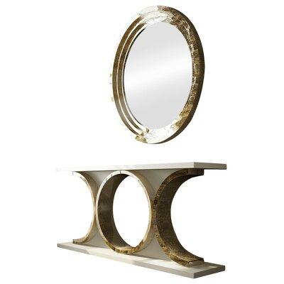 Everly Quinn Console Table Mirror Set High Gloss