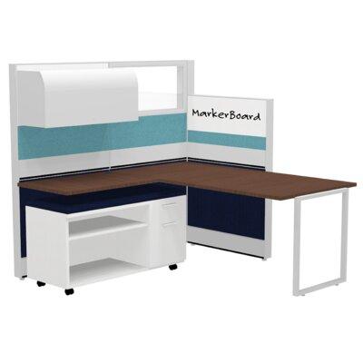 Cubicle System Whiteboard Overhead Cabinet Walnut Gray