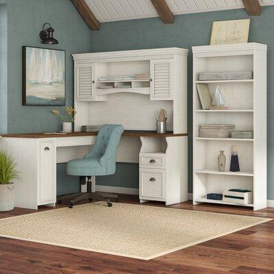 Beachcrest Home Desk Hutch Bookcase Set Antique White