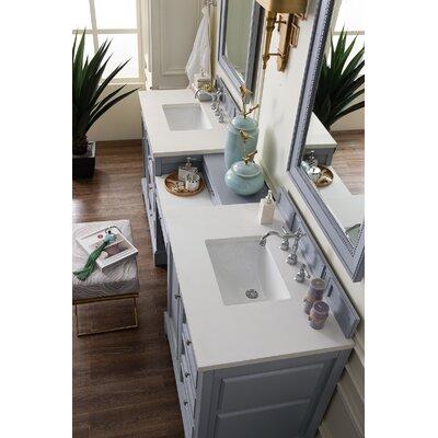 Alcott Hill Double Bathroom Vanity Set Base Silver Gray Top Snow White
