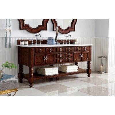 Astoria Grand Double Bathroom Vanity Set Top Thickness Base Aged Cognac Top